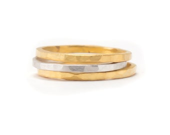 Gold and Silver Ring Set - Set of 3 Ring Bands - Whisper Thin RIngs - Hammered Texture - sizes 4, 4.5, 5, 5.5, 6, 6.5, 7, 7.5 and 8