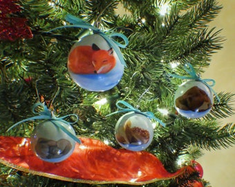 Slumbering Winter Animals Hand-Painted Gourd Ornament - Set of 4 - Teal