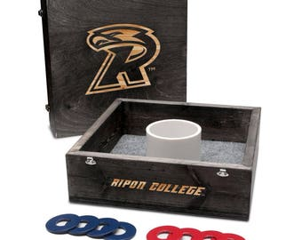 Ripon College Red Hawks Washer Game Set Onyx Stained