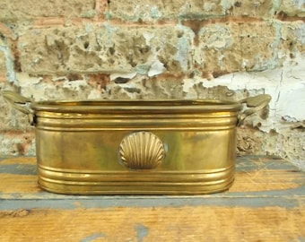 Brass Indoor Planter Embossed Shell Design - Double Handle Succulent Planter - Gold Beach House Window Planter - Brass Herb Container