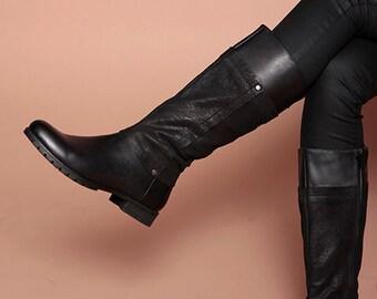 Ladies Mid Calf Leather Black  Slim Fit (Narrow ) Boots ,Zip Up