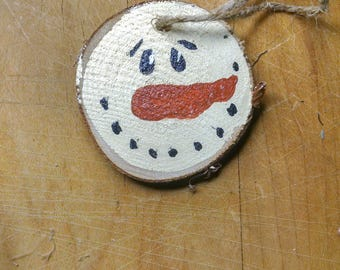 Hand Painted, Wood Slice ornament, Painted both sides, Snowman