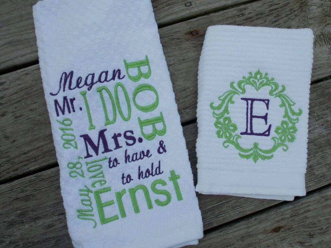 Kitchen Wedding Gifts: Personalized Kitchen Towel Set Wedding Gift Set Bridal Shower