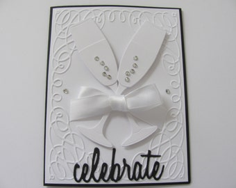 Wedding Cards, Embossed Champagne Glasses Card, Celebrate Card, Congratulations, Weddings, Mr & Mrs Card, Wedding Card, Embossed Cards