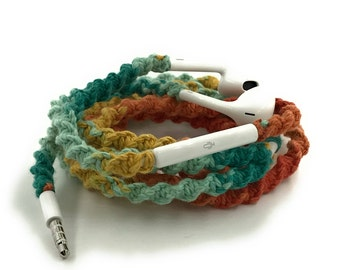 Wrapped Headphones for iPhone, Handmade iPhone Headphones, Custom Headphones, iPhone EarPods Tangle Free Earbuds in SIENNA