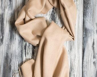 Baby Alpaca Scarf, Herrinbone Pattern Scarf,  Tan Colored Scarf, Soft Scarf, Winter Scarf