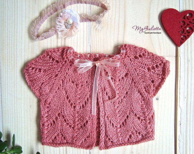 Beige Rose Coral Girl Knitted Mohair Shrug with Pearl Flower Ribbon Headband Short Sleeve Ready to Ship Newborn Little Girl Spring Outfit