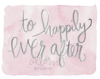 To Happily Ever After Card - Wedding Card, Watercolor Card, Minimalist Card, Hand drawn Card, Pink and Gray Card, Baby Shower, Bridal Shower