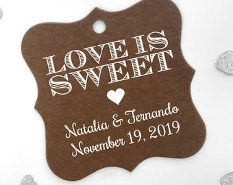 Love is Sweet Personalized Wedding Favor Hang Tags, Color Cardstock Favor Tags (FS-002-CC)