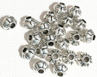 100 pcs of antique silver rondelle spacer beads 4x5mm,  metal spacer beads