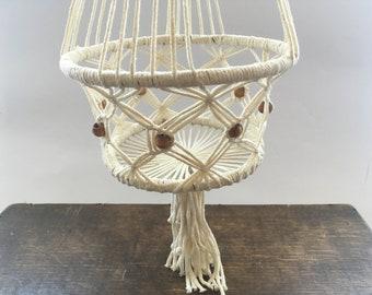Vintage macrame plant hanger White Macrame flower pot holder with wooden beads Macrame hanging plant holder