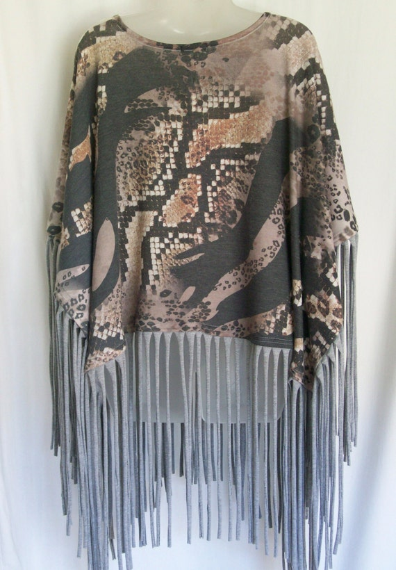 Poncho, cape, animal print, fringe clothing, festival,festival top, unique top, hippie boho bohemian, up cycled, altered clothing, shawl