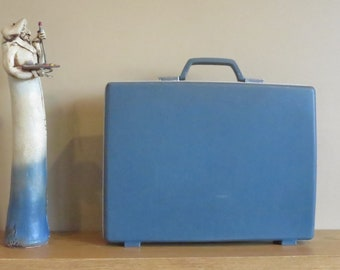 Dads Grads Sale Vintage Samsonite Slate Blue Hard Shell Slim Briefcase Attache No Key - Rare Retro- VGC