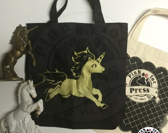 UNICORN Tote Bag on BLACK Canvas Tote // gold ink