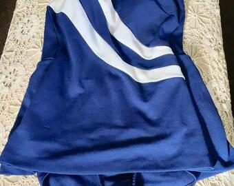 1950's Vintage Blue & White Skirted Swimsuit