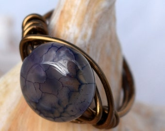 Antique Brass Wire Wrapped Ring, Amethyst, Customizable, Jewelry, Solitaire Ring, Wire Ring
