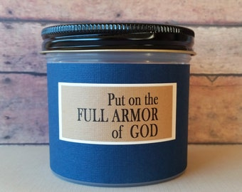 Christian gift for men, Scripture Jar filled with Bible Verse Cards, Put on the full armor of God, Gift for Dad, Fathers Day, Teacher gift