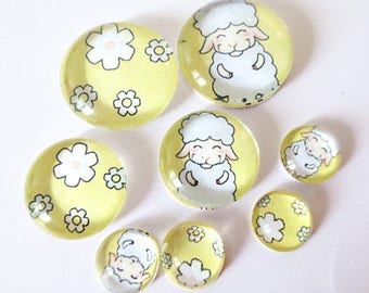 "Lot 8 ""SO CUTE - sheep"" (craftsmanship) theme cabochons 12mm / 20mm / 25mm"