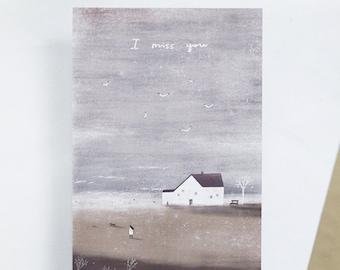 I miss you. postcard // friendship postcard. sea landscape illustration.