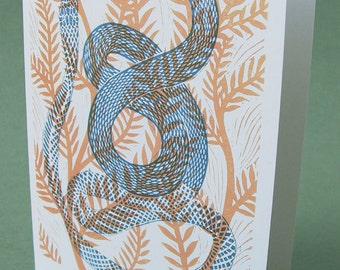 5 x 7 Notecard - A021 ECDYSIS I // snake card / snake art / recovery card / linocut card / nature print / recovery card / transitional art