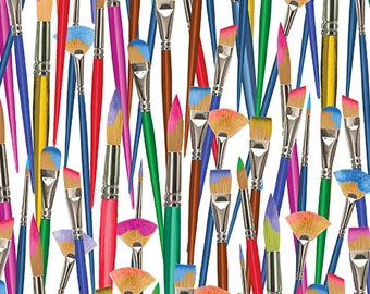 Artist Brushes on White Fabric, All About Color / Paint Art Fabric / Kanvas 08665 09 by the yard / Paint Brush Yardage and Fat Quarters