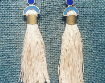 Arc and Tassel earrings in blues and cream