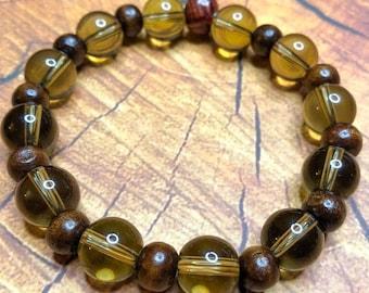 Mens Boho Bracelet, Mens Gemstone Bracelet, Citrine Bracelet, Mens Jewelry Gift, Mens Boho Green Bracelet, Mens Beaded Bracelet, Boho Man