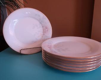 Noritake Fine China Salad Plates, Sweet Surprise Design, Set of 7, Vintage, China, Dinnerware