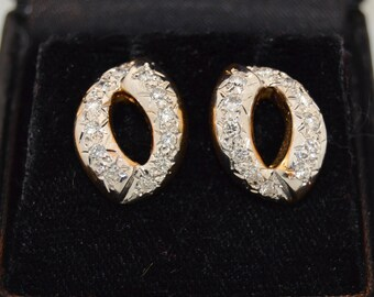 14K White and Yellow Gold Pave Diamond Earrings