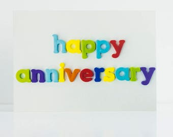 Happy Anniversary - Blank Greetings Card - Photography - Photo - Colourful - Words - Romance - Anniversary