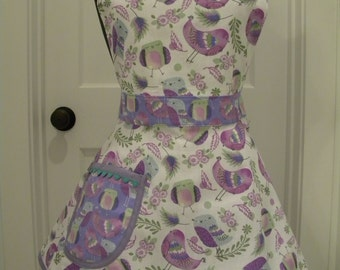 Womens Apron-All Over Purple Birdies-Full Sweetheart Apron