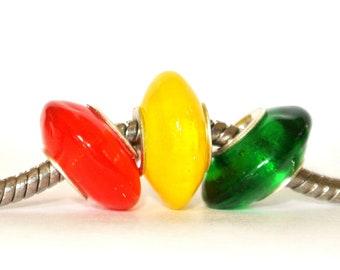 Orange, Yellow and Green Hard Candies Disc Lampwork Glass Bead fits ALL big hole bead European Bracelets