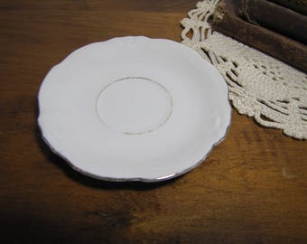 Small White Porcelain Saucer - Embossed Edge - Gold Accent