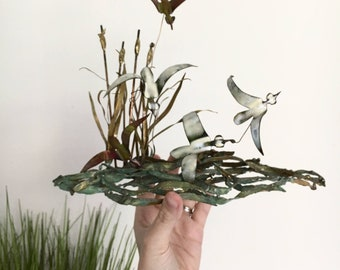 Metal Bird Sculpture | Vintage Nature Natural Mid Century Modern Metal Art Artwork |