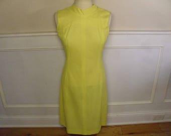 Vintage 1960's  Sleeveless Yellow Dress  Deadstock