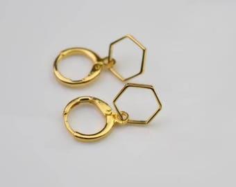 hexagon hoop earring gold geometry hoops endless hoop huggie dangle earring simple earrings everyday/gift for her