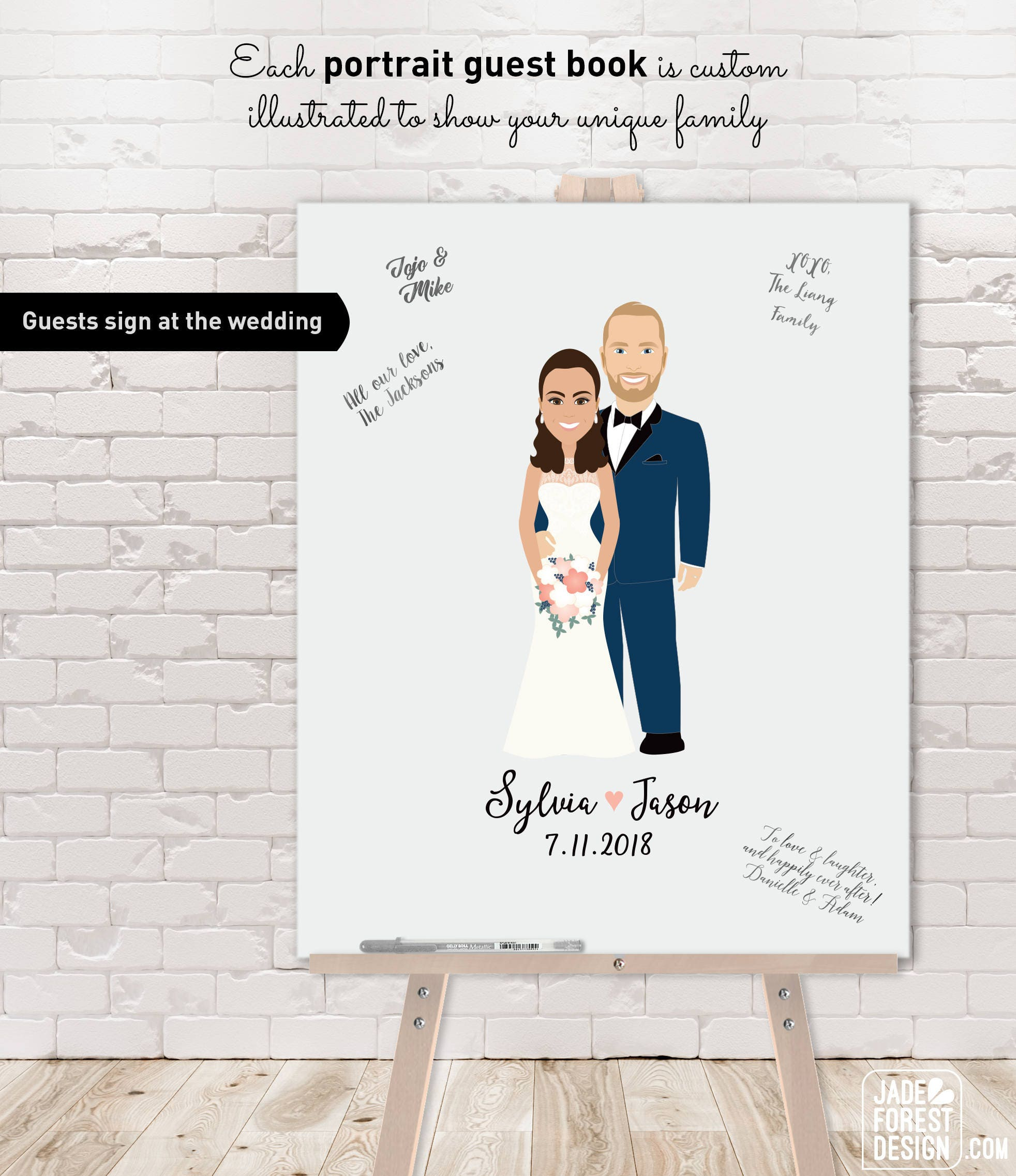 Well known Wedding Guest Book Alternative / Illustration Cartoon Portrait  HS95
