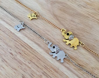 Mom Baby Elephants, Family Necklace, Elephant Necklace, Gold Elephant, Silver Elephant, Baby Elephant Charm, Mom Elephant Charm