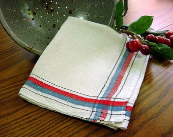 Vintage 50s Kitchen Dish Towel - Red Blue Stripe Natural Linen NOS Tea Towel - Stevens Linen Works