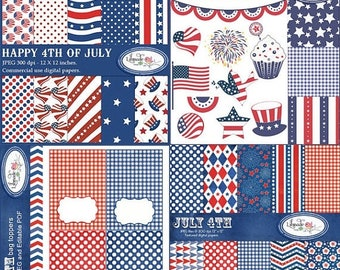 50%OFF 4th of July digital paper, clip arts and printables bundle, Independence Day scrapbooking set, DIY 4th of July, B265