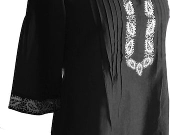Women   Black  Cotton  Tunic Scoop Neck  Floral Embroidered  Top Summer Dress