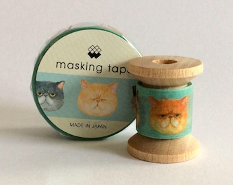 "Japanese Designer Washi Tape Mini Spool Single ""Grumpy Cat"" by Mind Wave 2 yards"