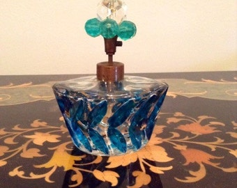 Irice Perfume Bottle Turquoise Green Jewel Top Rare Collectable