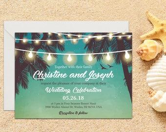Printed Beach Wedding Invitation, Beach Wedding Invitation, Destination Wedding, Beach Wedding, Tropical Wedding, Printed Wedding invitation