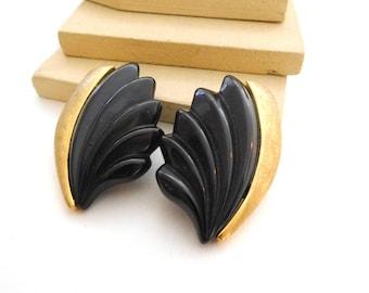 Vintage Chunky Art Deco Style Black Gold Fan Ear Climber Clip On Earrings J7