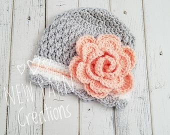 Girls Hat, Crochet Girls Hat, Girls Winter Hat, Baby Girl, Crochet Flower Hat, Toddler Crochet Hat, Hats for Girls, Kids Hat, MADE2ORDER