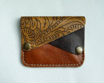 Handmade Leather and suede Wallet | 3 compartment | Brown flower pattern and rust | Pocket Sized