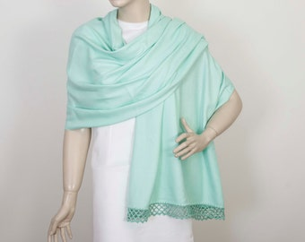 Wedding shawl Bridesmaids shawl gifts  Pashmina shawl maid of Honor gift with handmade lace in mint