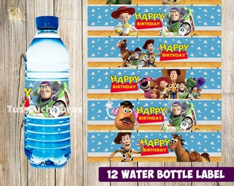 12 Toy Story Water Bottle Label instant download, Printable Toy Story Water Bottle Label, Toy Story Water Label