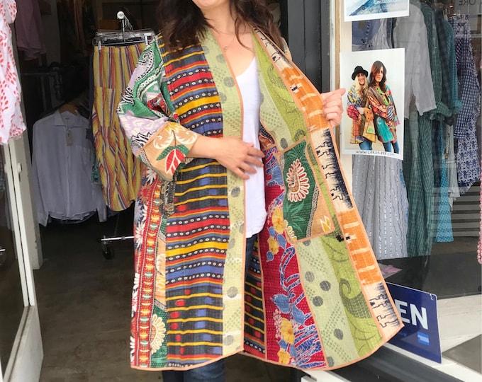 Stunning reversible designer kantha coat